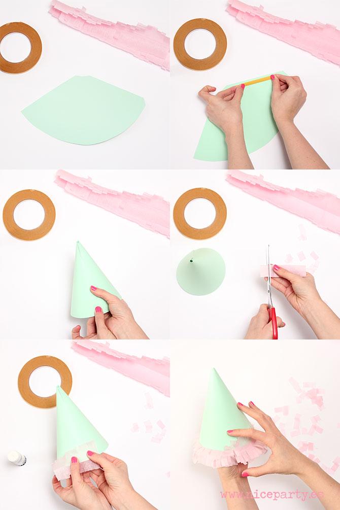 DIY: Cómo hacer un gorrito de fiesta con flecos de papel