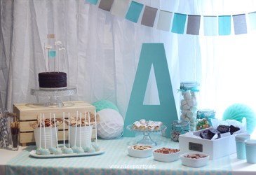 Un baby shower color mint