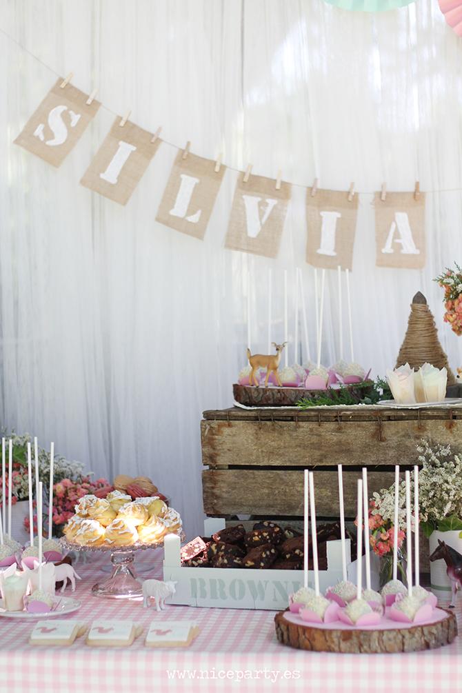 Nice Party Comunión bosque Mesa de dulces y decoración (17)