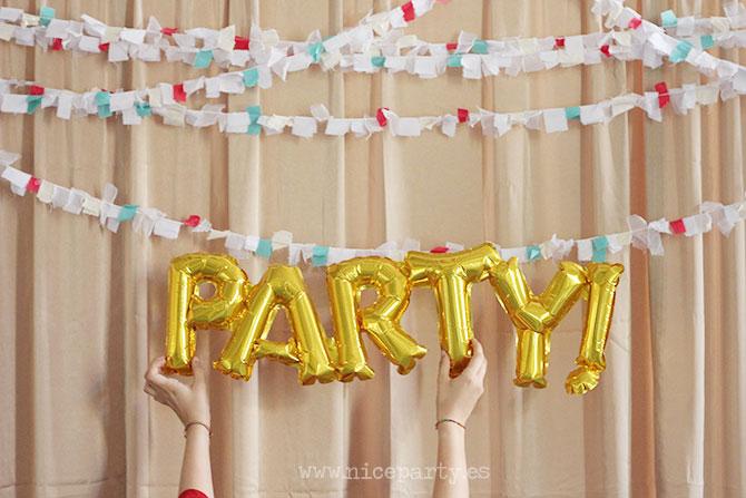 Nice Party fiesta 70 cumpleaños decoración y mesa de dulces dorado (15)