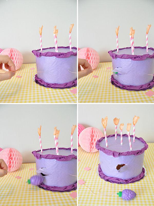 DIY piñata con forma de tarta