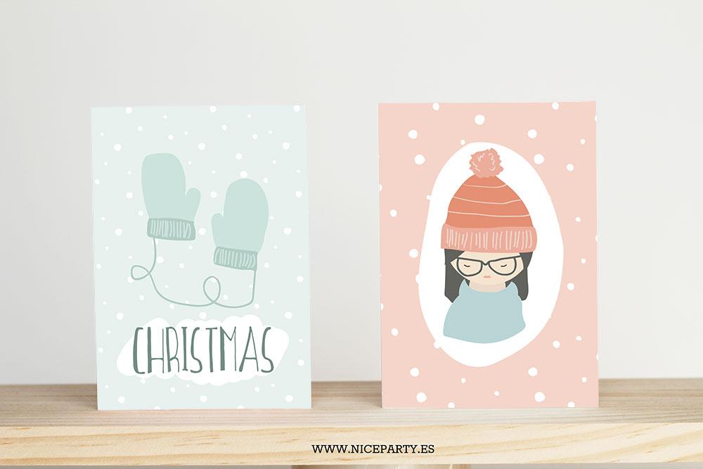 Nice Party tarjetas de navidad wool