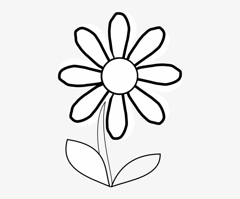 White Daisy With Stem Clip Art At Clker Com Vector Daisy Flower Clipart Black And White Transparent Png 426x598 Free Download On Nicepng
