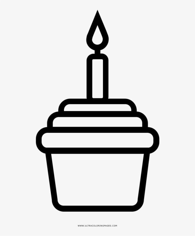 Birthday Cupcake Coloring Page - Take Away Coffee Symbol