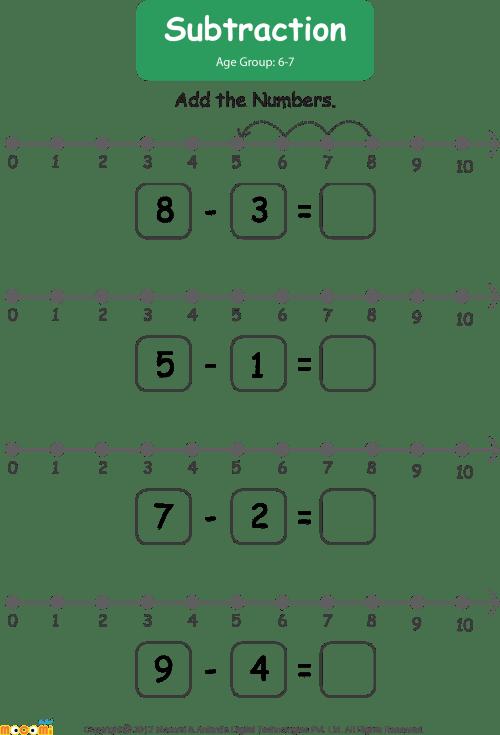 small resolution of Download HD Subtraction Worksheet For Kids Worksheets Learn More - Number  Line Addition Worksheet For Kg Transparent PNG Image - NicePNG.com