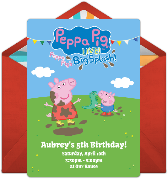 peppa pig birthday invite transparent