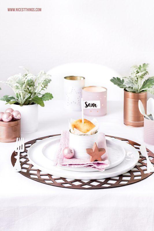 Tischdeko Weihnachten  DIY Dosen Windlicht in Weiss Rosa Kupfer  Nicest Things