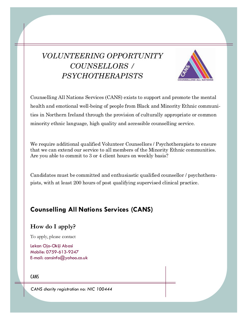 CANS Volunteer Counsellor Jan 2015