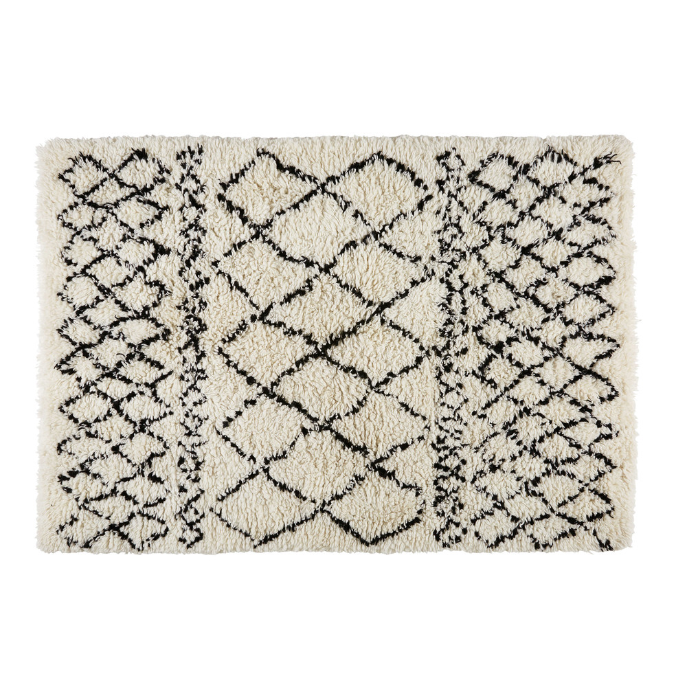 niche cadeau tapis berbere en laine et coton ecru noir 140x200cm