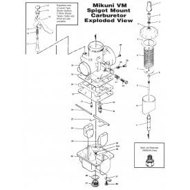 Mikuni VM44 Round Slide 44mm Carburetor VM44-3 Genuine