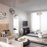 Miami Guest Residence Aglow With Modern Living Room Pendant Lights