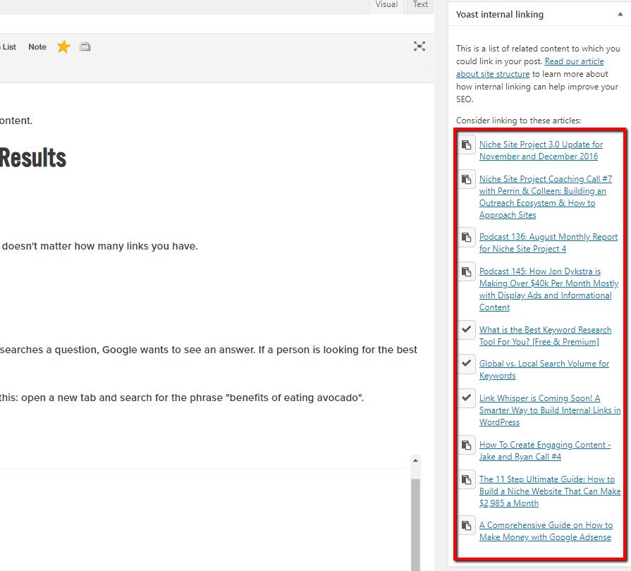 yoast internal linking plugin