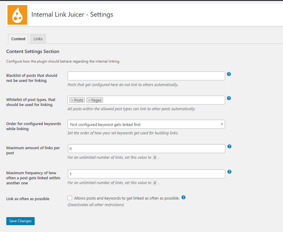 internal link juicer settings