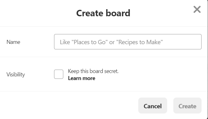 pinterest crea board
