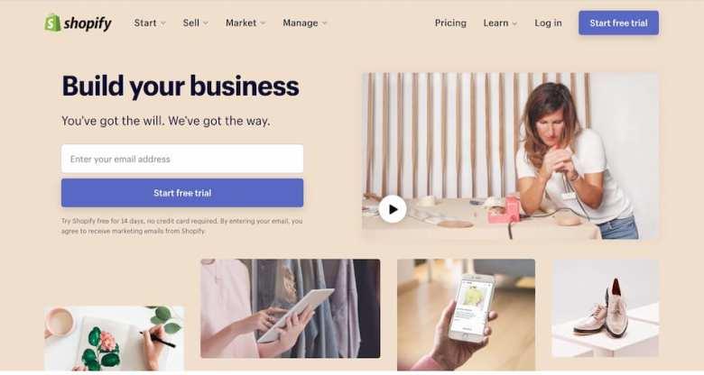 Home Page di Shopify