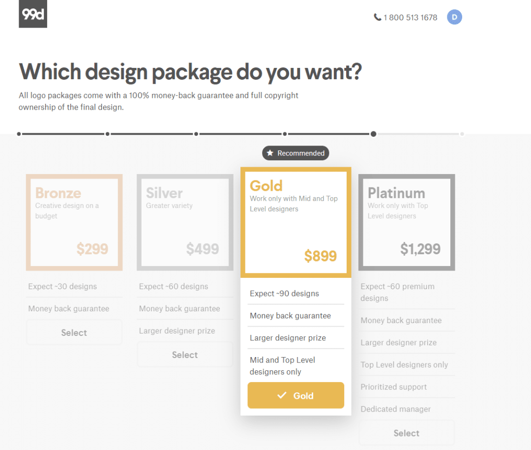 99 Designs Contest Package Pricing