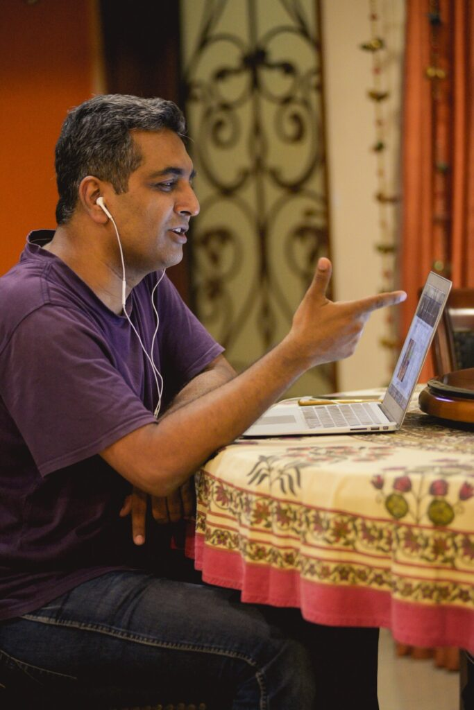 man teaching online