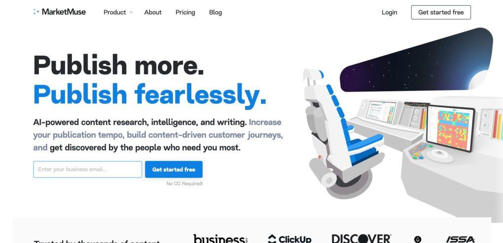 screenshot of marketmuse homepage