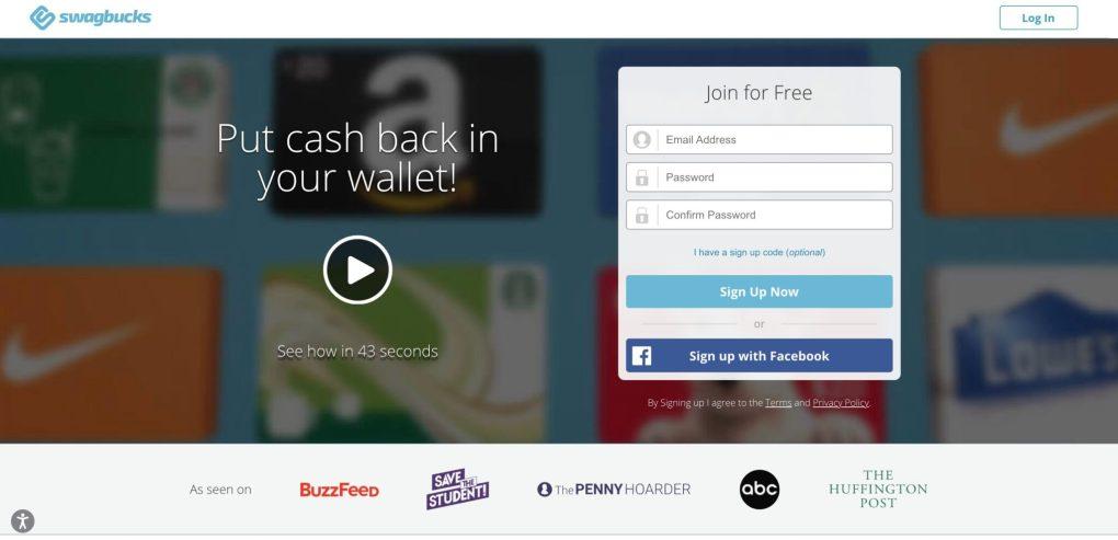 Screenshot des Swagbucks-Partnerprogramms