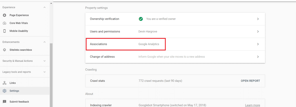 Screenshot of how to connect Google Search Console and Google Site Kit.