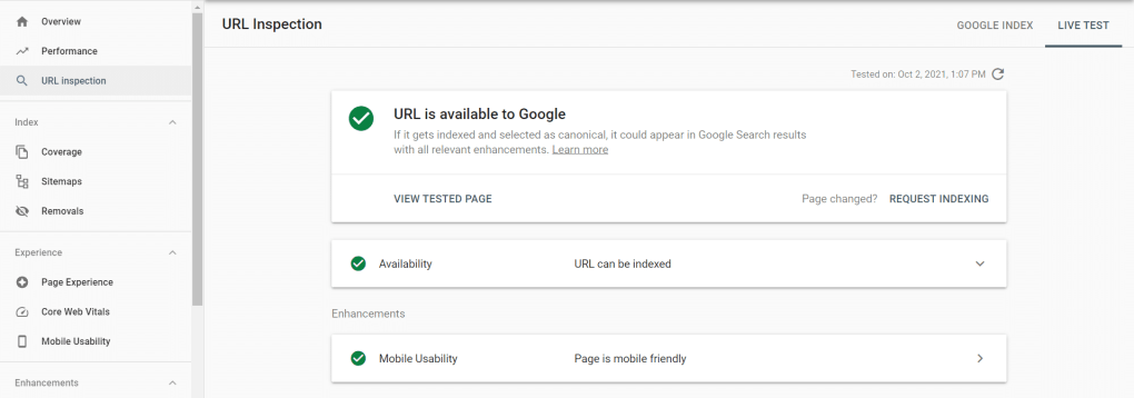 Google Search Console inspection section.