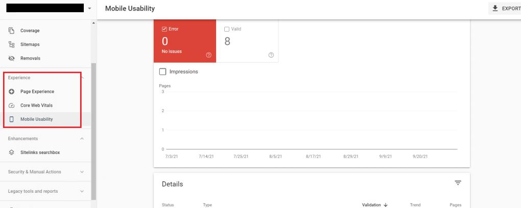 Screenshot of Google Search Console optimizations page.
