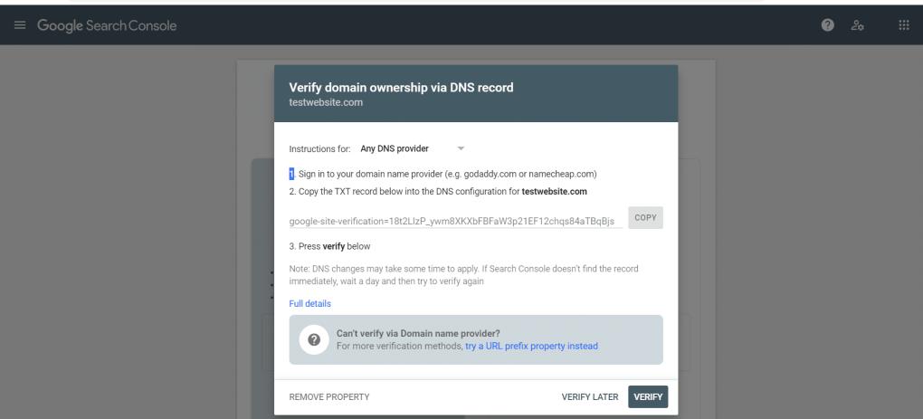 Google Search Console website verification screenshot.