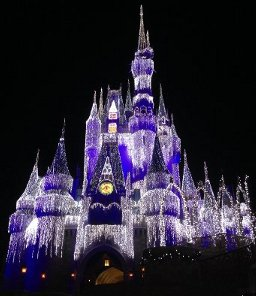 Disney World Castle Holiday Lights