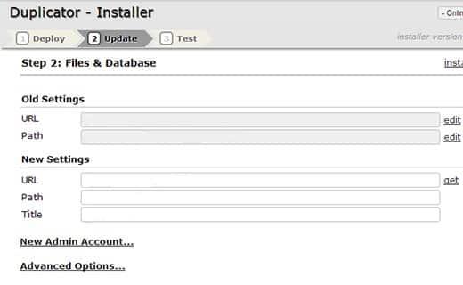Duplicator Install Screenshot 2
