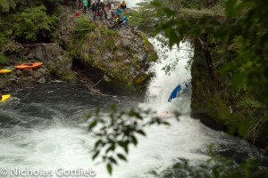 Lou Urwin lands on Daphnee on the first rapid. This was not the only time Daphnee got landed on in this rapid.