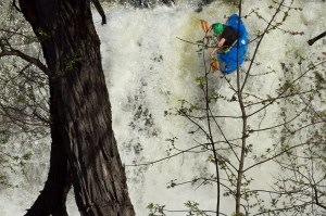 Boofing the local waterfall in Middlebury. Photo Daphnee Tuzlak.
