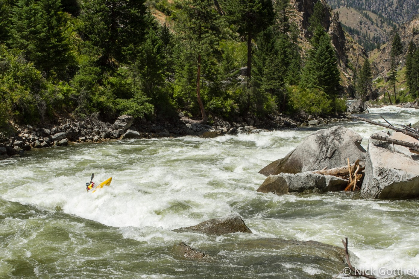You can only run a rapid blind once...Egor Voskoboynikov paddling through the meat of the second part of Fall Creek Rapid.