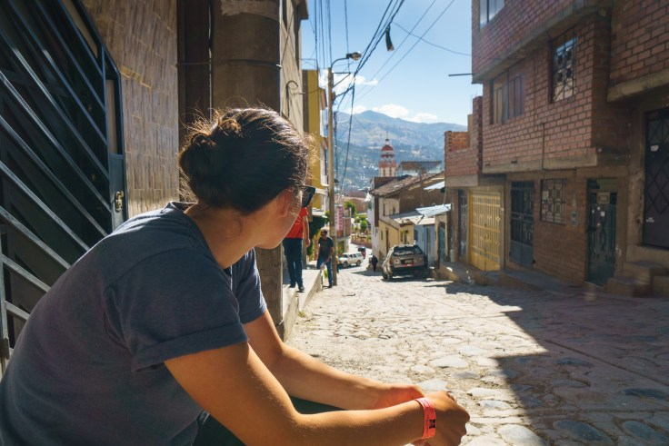 Daphnee hanging out in front of our hostel in Huaraz.