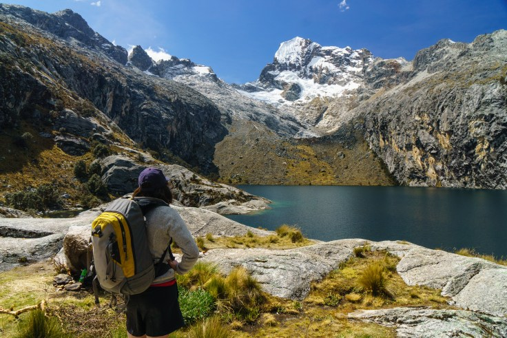 """The exact details of this hike are a bit vague...catch a bus to """"Pitec"""" from a random street corner in Huaraz. We were told it would only take us partway to the trailhead, but the one we got on took us the whole way. Then it's a quick couple hour hike up an incredibly steep trail to this high alpine lake, Laguna Churup."""