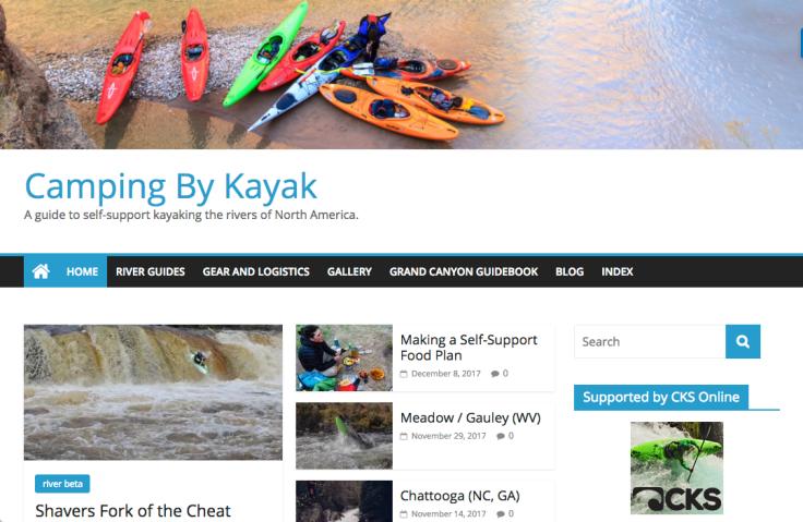 CampingByKayak.com screenshot