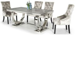 Stainless Steel Kitchen Table Ashley Furniture Arianna Grey Marble Dining 200cm Inc 4 Chairs 180cm Lightbox