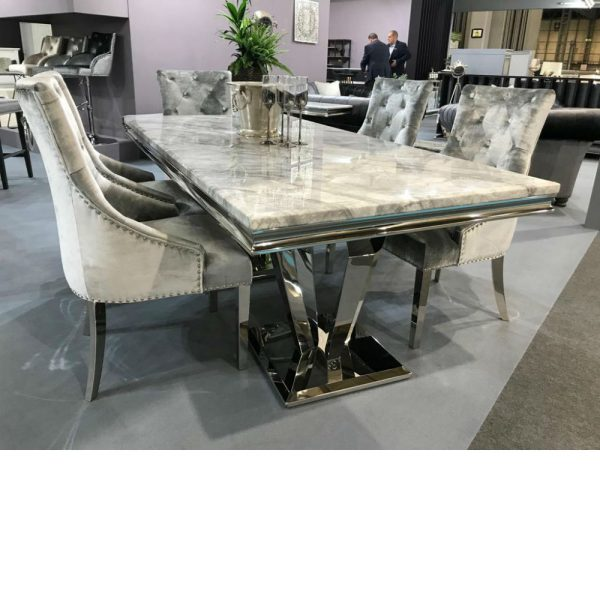 arturo grey marble stainless steel dining table with 4 lt grey velvet chairs 160 cm