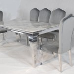 Louis Grey Marble Dining Table Set With 6 Grey Velvet Chairs Nicholas John Interiors