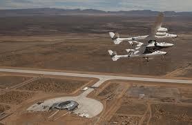 Virgin Galactic's WhiteKnight's first flight over Spaceport America