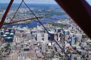 Biplane over Parliament