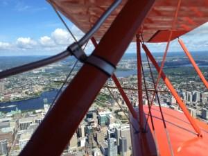 Biplane over downtown Ottawa