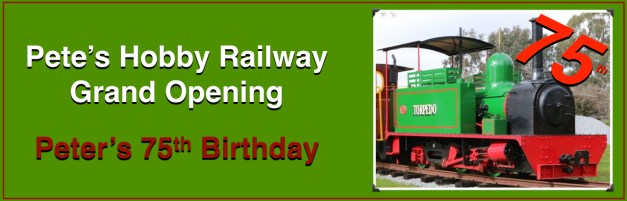 Pete's Hobby Railway Grand Opening and Peter's 75th Birthday Logo