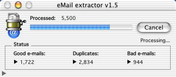 eMail Extractor processing