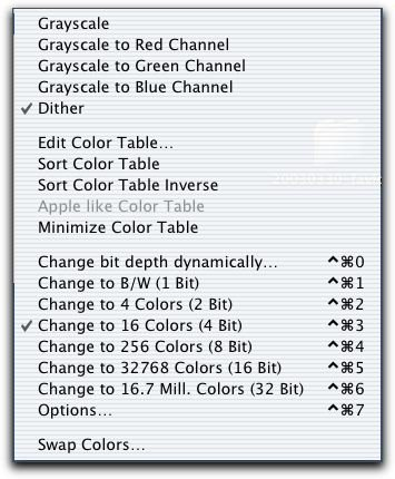 GraphicConverter's Color Menu
