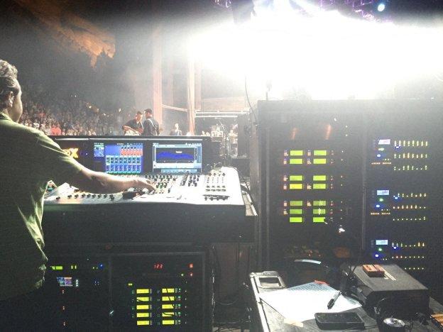 Nicholas Radina mixing monitors at Colorado's Red Rocks!