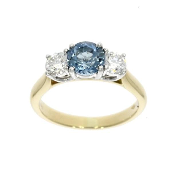 18ct White & Yellow Gold Aquamarine Diamond 3 Stone
