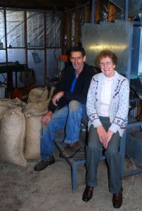 Mark and Rosalie in their processing shed