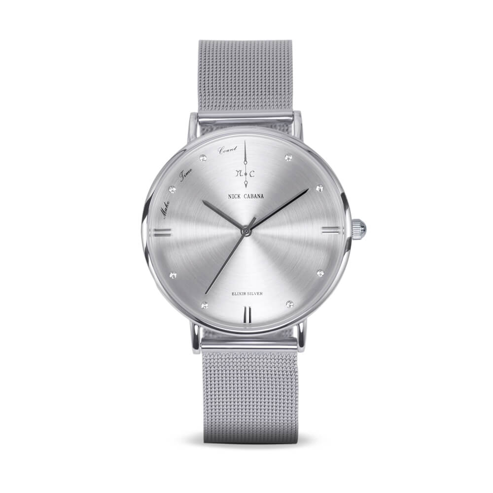 Nick Cabana Elixir Silver womens watch in silver with swaroski crystals and mesh watchband