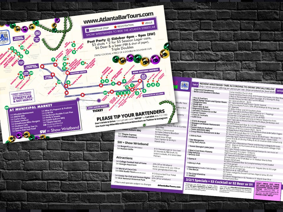 Atlanta Bar Tours - Mardi Gras Streetcar Map Design - Infograhpic