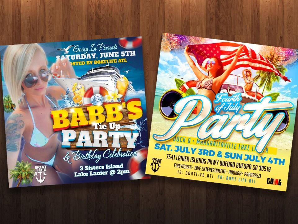 Lake Party Flyer Designs